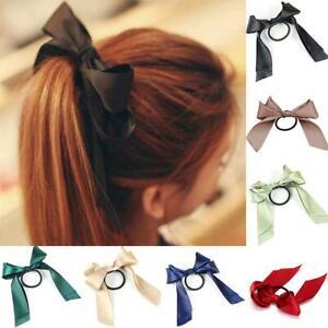 Scrunchie  Sweet Women  Elastic Bow Ponytail Holder Hair Rope Band Satin Ribbon