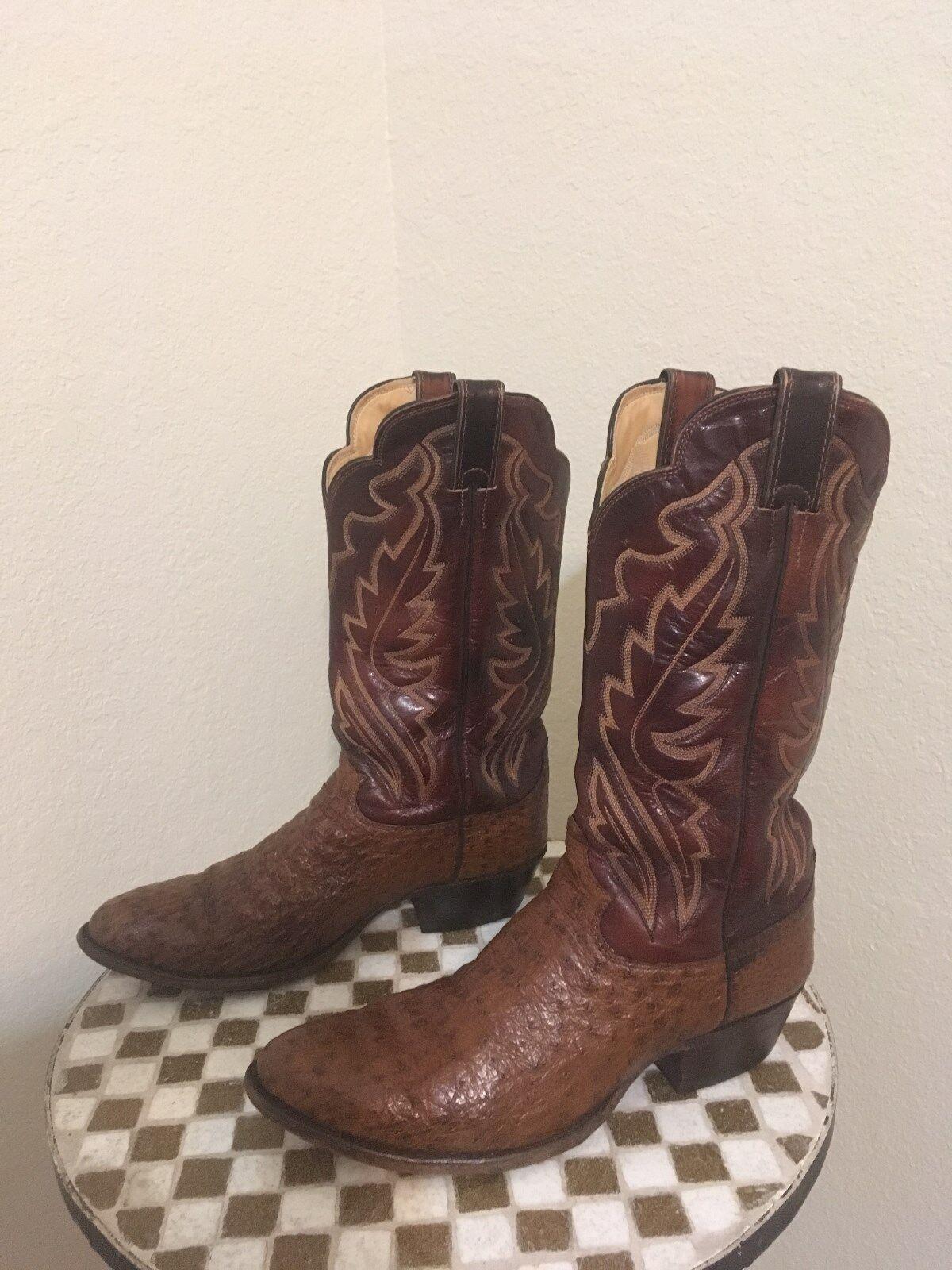 Vintage JUSTIN Hecho en EE. UU. marrón botas de Cowboy Ranch danza de avestruz 10.5 D