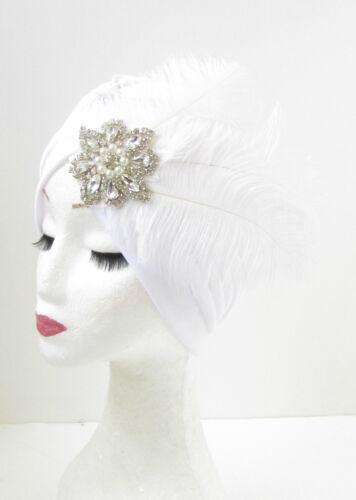 Weiß Silber Feder Turban Kopfteil Flapper Vintage 1920er Jahre Strass Perle 910