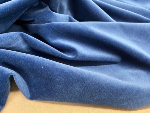 """Winston Blue Plain Super Soft Velvet 140cm//54/"""" Curtain//Upholstery Fabric"""