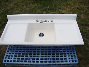 Image Is Loading Vintage 54 034 Cast Iron Kitchen Sink With