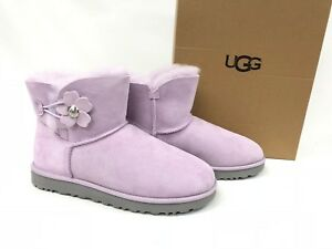 26660bc7482 Details about UGG Australia Mini Bailey Button Poppy Winter Boots Women's  Lavender Fog 1092295