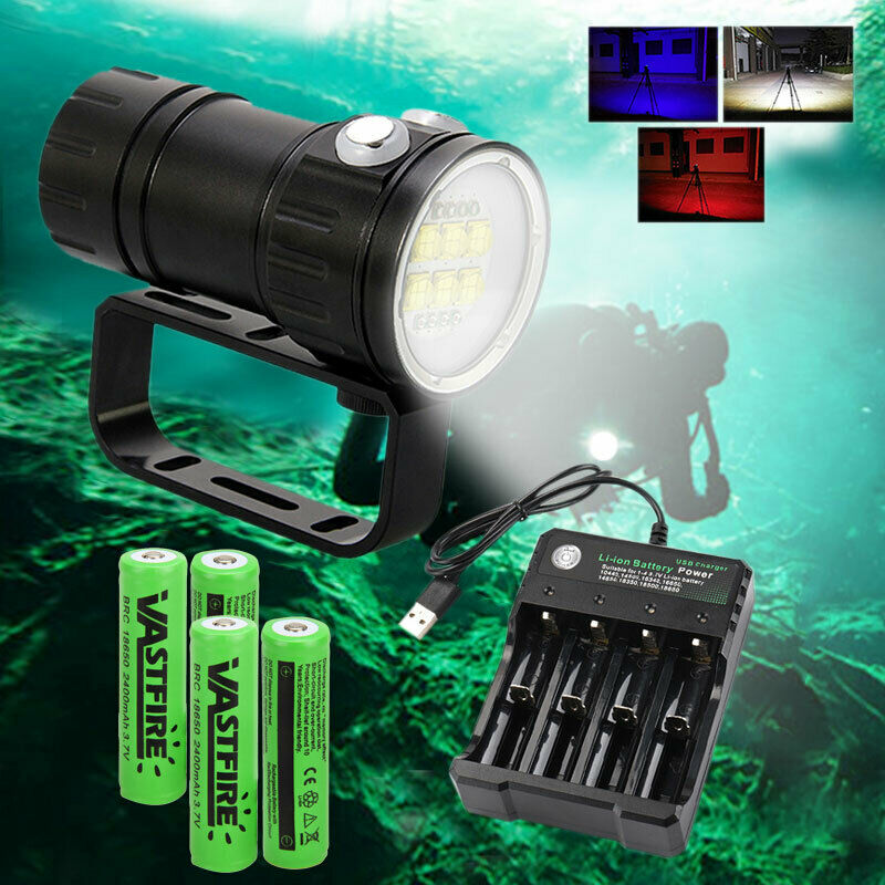 14 LED Diving Fotografie Video Rot Blau Weiß Licht Tauche Tauche Tauche USB Tauchlampe IPX8 J c41d03