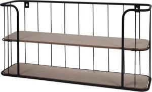 Wandregal Regal 2 Ablagen Metall Holz Gitter Shabby Kuchenregal