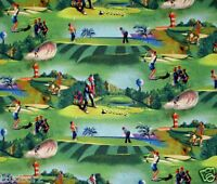 Golf Fabric Fore Green Cotton Quilting Fabric Elizabeth Studios Bty