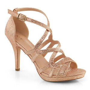 54a9082f880 Image is loading Rose-Gold-Glitter-Formal-Heels-Bridesmaid-Wedding-Sandals-