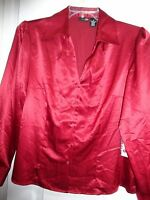 East 5th Ladies Classic Red Button Front Long Sleeve Size 14 Blouse Poly