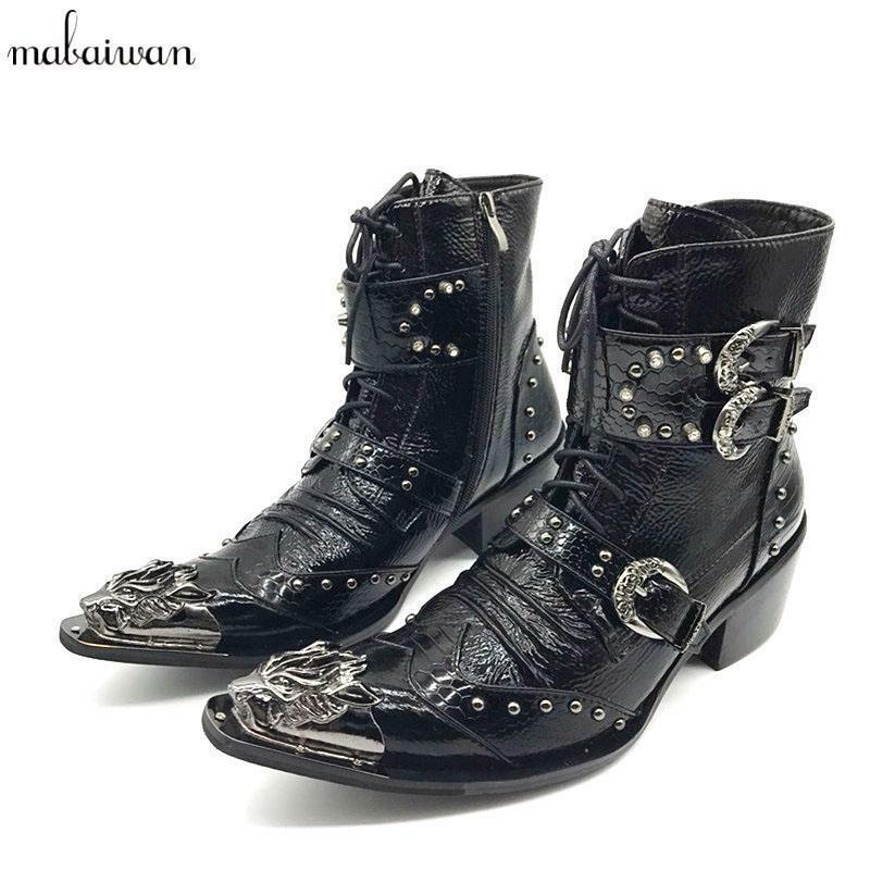 New Steampunk Genuine Leather Men's Iron Pointed Toe Lace Up Military Cowboy Boo