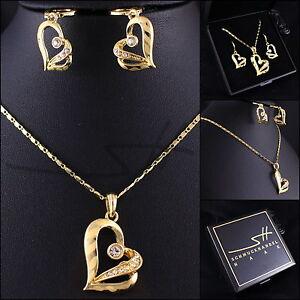 Schmuckset-Halskette-Ohrhaenger-Herz-Gelbgold-pl-Swarovski-Elements-Etui