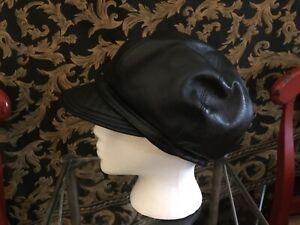 "Vintage Kokin NYC Black Handmade adjustable Leather Hat "" The Packables"" OS"