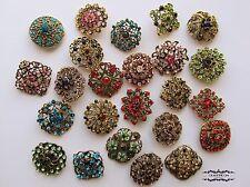 Brooch Lot 24 Mixed Antique Brass Bronze Pin Rhinestone Crystal Wedding Bouquet