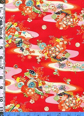 Fabric Miller SACCHAN Asian Japanese River waves Drums Red