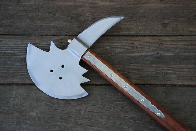 Replica Medieval Viking Barbarian War Battle Broad Axe Hatchet Wooden Handle
