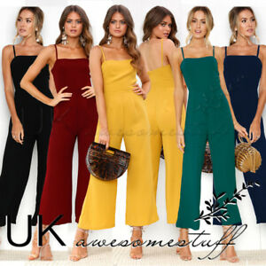 UK-Womens-Bootcut-Jumpsuit-Ladies-Evening-Night-Out-Party-Playsuit-Size-6-16