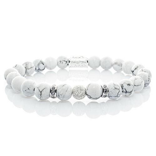 Howlith 925 Sterling Silber Armband Bracelet Perlenarmband Beads Kugel weiß 8mm