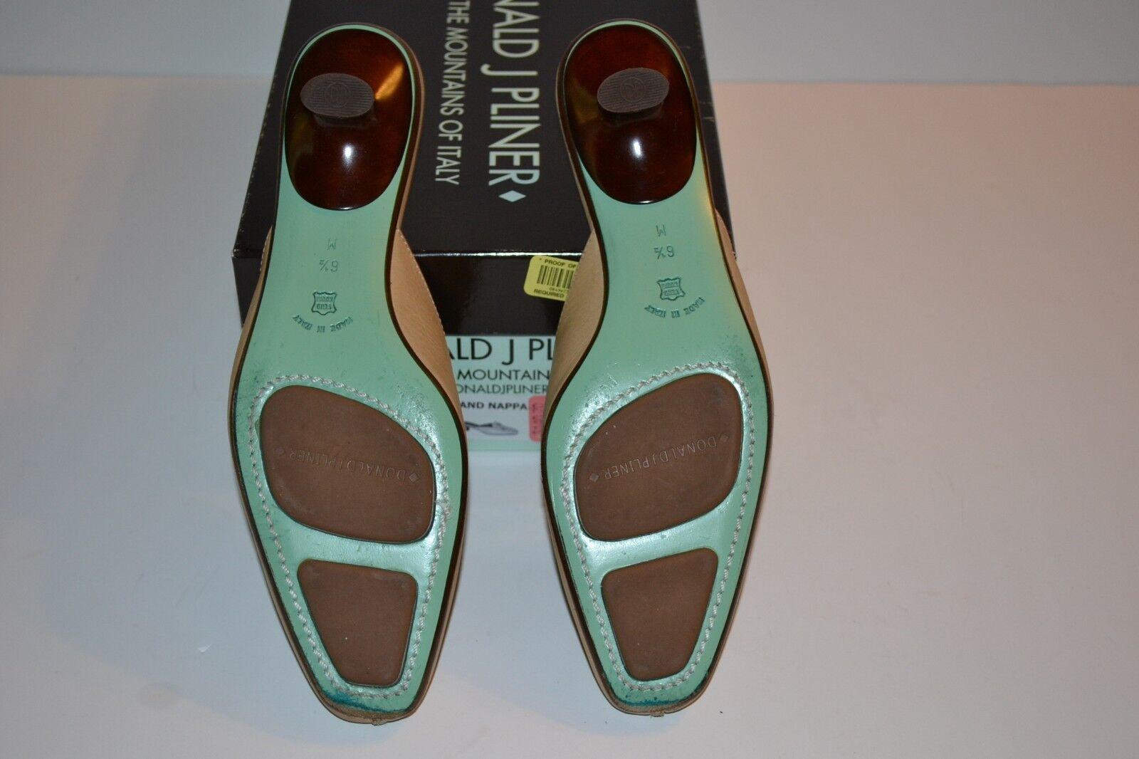 DONALD J. Leather PLINER  Missy  BEIGE Leather J. schuhe Slip On Mules Sz 6.5 Heels  210 6656b1