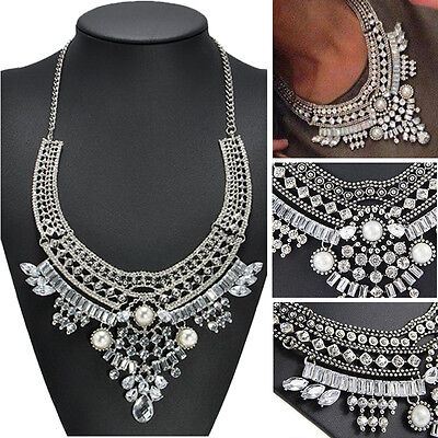 Vintage Women Jewelry Chain Crystal Choker Chunky Bib Statement Pendant Necklace