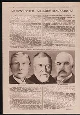 WWI Portrait Rockfeller /Andrew Carnegie/ Pierpont Morgan USA 1918 ILLUSTRATION