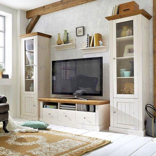 Perfekt Steens Monaco Wohnwand Wohnkombination Breite 290 Cm Kiefer Massiv Weiß  Provence