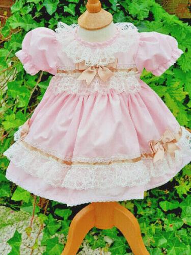 Dream 0-3 Ans Bébé Filles rose clair crème volants doublé robe ou Reborn Dolls