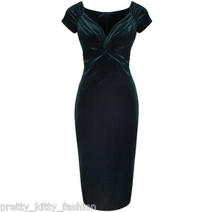 Vintage-Green-Velour-Velvet-Party-Hollywood-Wiggle-Bodycon-Pencil-Cocktail-Dress