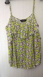 DOROTHY-PERKINS-CAMI-STYLE-TOP-SIZE-10-GREEN-FLORAL-PATTERN