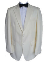 100% Wool Cream Tuxedo Jacket 40 Short