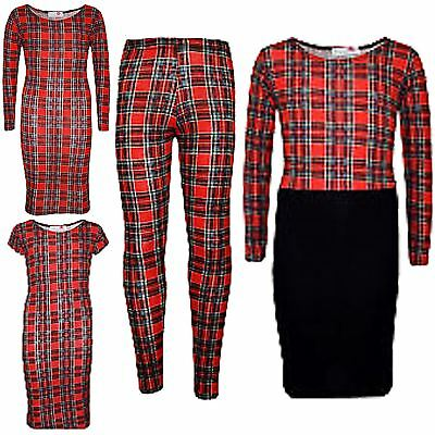 Kids Girls New Tartan Print Fashion Midi Dress Legging Crop Top Age 7-13 Years