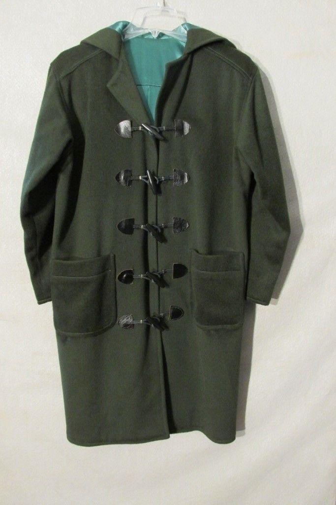 S6630 Vintage Women's XL Est. Emerald Green Toggle Knee Length Hooded Coat