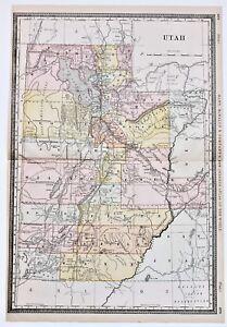 1898 Utah Map Salt Lake City Piute Railroads Large Double Page
