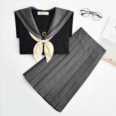 JK Japanese High School Sailor Uniform Cosplay Costumes Pleated Skirt Blouse