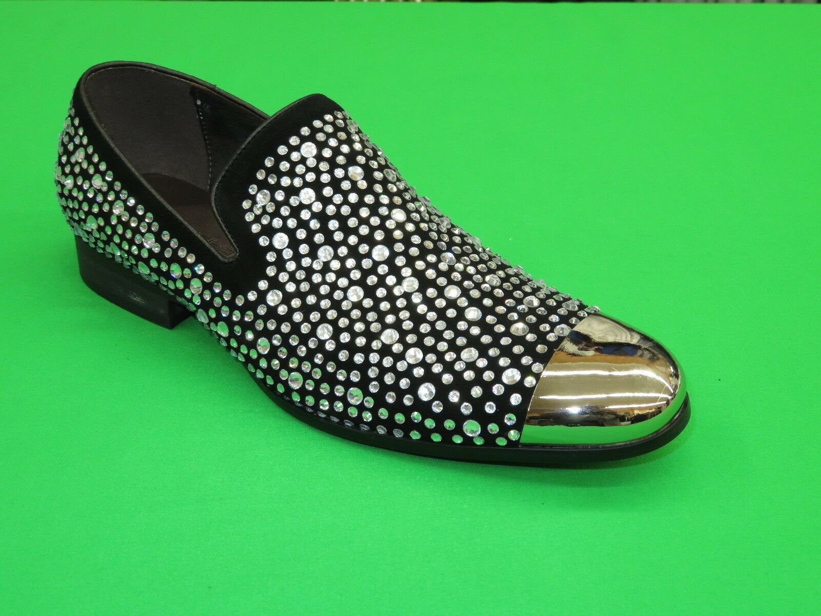 Mens Zota schuhe Leather Shiny Crystal Metal Toe Performer Stage GF0835-80 Silber