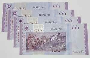 Malaysia-Money-Currency-Banknotes-Replacement-4-Pcs-RM100-Zeti-ZD-0727712-15-UNC