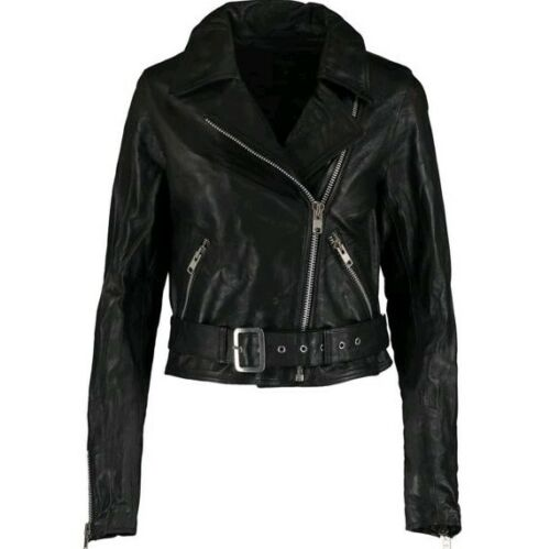 M L XL  £299 GENEL LONDON Black Leather Belted Biker Jacket S