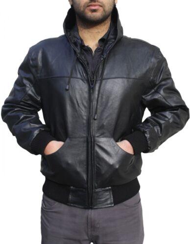 Giacca nera sportivo pelle cappuccio vera in con con Abbigliamento in pelle cappuccio in con cappuccio giacca pelle gaYFdqC