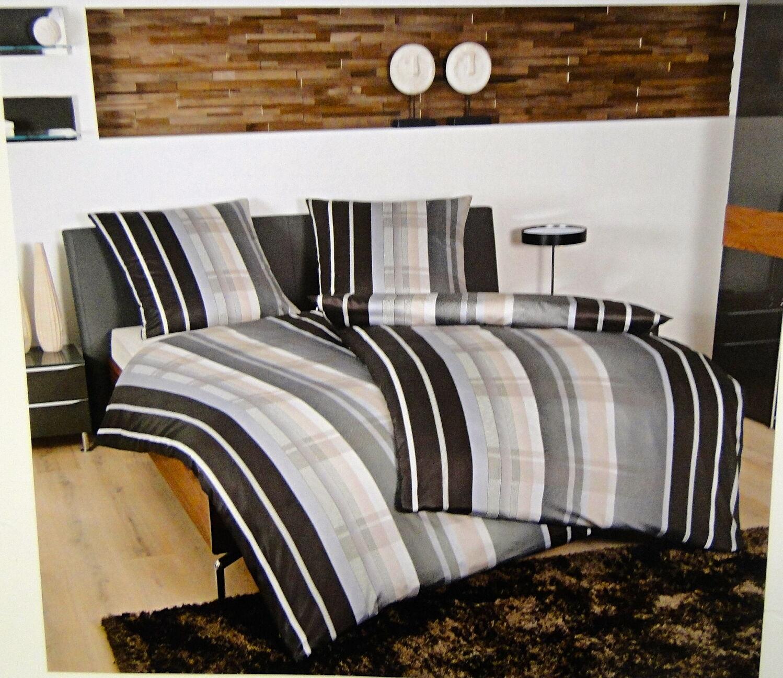 Janine Mako Satin Bettwäsche 135x2002 tlg Bettgarnitur Schwarz Taube Baumwolle   | Haben Wir Lob Von Kunden Gewonnen