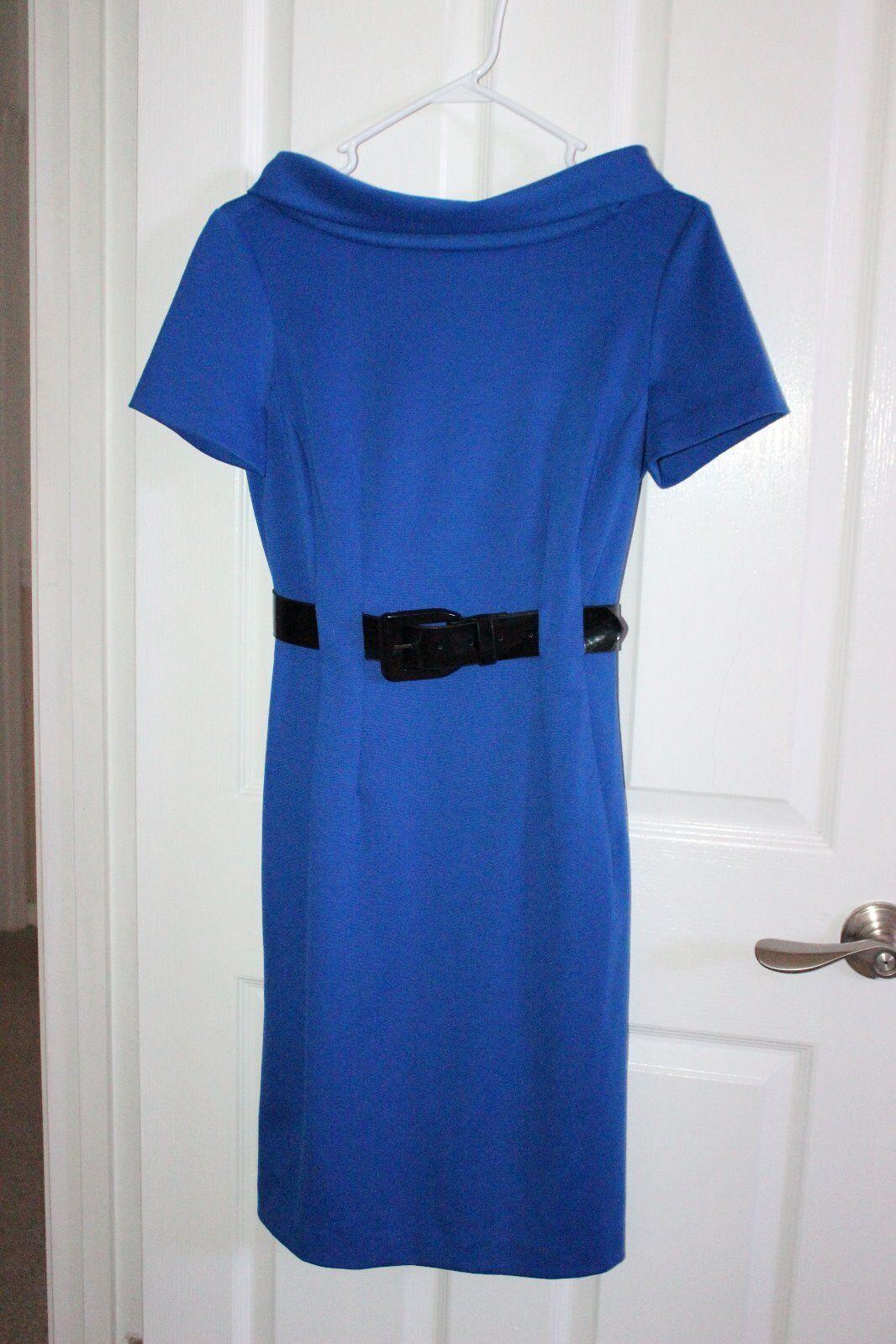 women Morgan bluee bluee bluee Belted Classy Dress Kennedy Style - Size 4 (worn once only) 54f966