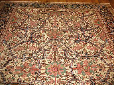 Antique Rarest Ivory Persian Heriz Serapi Rug Size 10'1''X14'