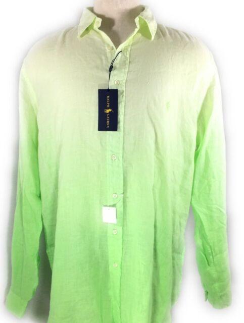 Ralph Green Bigamp; Sleeve Tall Polo Lauren Mens Long Xlt Shirt Nant Lime Linen Yg7yvbIf6