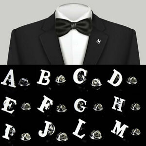 Letter-A-Z-Unisex-Men-Fashion-Lapel-Brooches-Collar-Pin-Silver-Wedding-Party