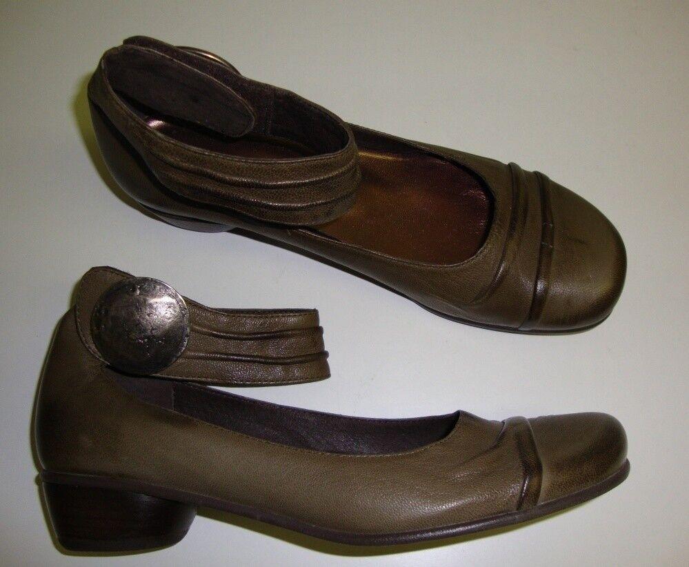 Andrea Tokio Ladies Slip on shoes with Ankle Strap Leather Khaki 37
