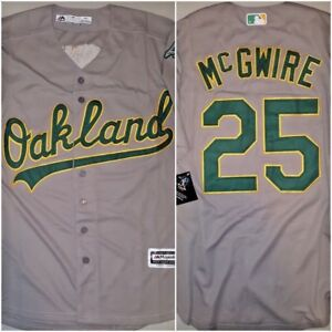promo code cae10 82bae Details about Throwback Mark McGwire Oakland Athletics #25 Gray Replica  MEDIUM Baseball Jersey