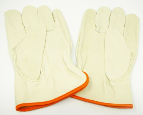 XXXL 100/% Leather Work Gloves w// Orange Cuff Edge QTY 12 Pair