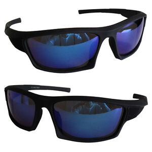 EAKS® Herren Designer Sport Sonnenbrille schwarz, blau verspiegelt Biker Hip Hop