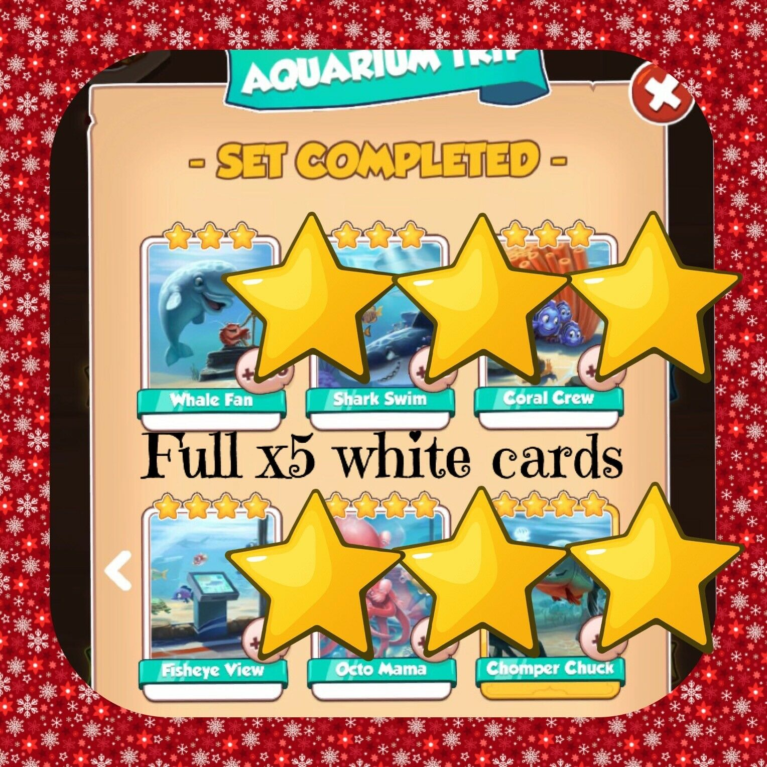 Coin Master Aquarium Trip Set (x5 Whites) (All New Sets Available) (Fast Send)
