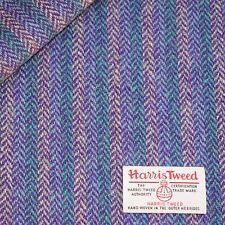 Harris Tweed Fabric Material With Labels Striped Herringbone