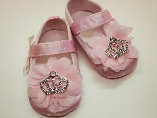 SALE ** Baby Girls Shoes Pink Satin Christening Party Pram Shoes 3 sizes