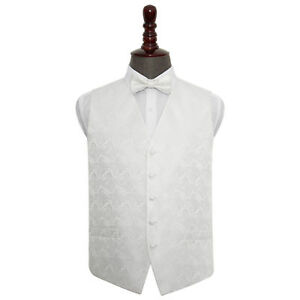 Hombre-Blanco-motivo-Cachemira-Chaleco-Para-Boda-TALLA-91-4cm-127cm