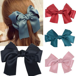 Pince-a-Cheveux-Barrette-Epingle-Clip-Noeud-Papillon-Ruban-Satin-Femme-Coiffure