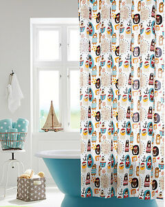 Image Is Loading NEW Garnet Hill Percale Pirate Shower Curtain